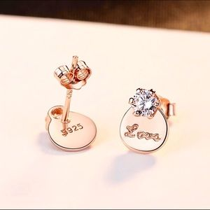 Jewelry - Rose Gold Plate Genuine 925 Love Solitaire Earring